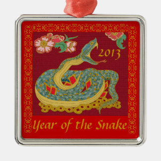 Year of the Snake Square Metal Christmas Ornament