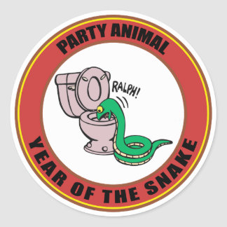 Year of The Snake Party Animal Classic Round Sticker