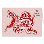 Year of the Snake (Red) Greeting Cards