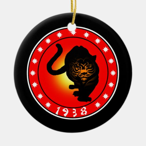 Year of the Tiger 1938 Double-Sided Ceramic Round Christmas Ornament