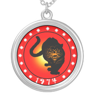 Year of the Tiger 1974 Round Pendant Necklace