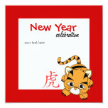 Year of the Tiger Cutie 5.25x5.25 Square Paper Invitation Card
