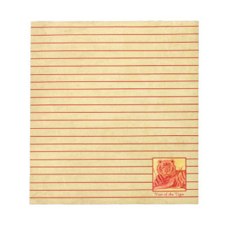 Year of the Tiger Happy Chinese New Year Red Lined Notepad