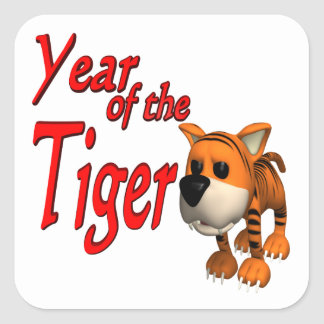 Year Of The Tiger Square Sticker