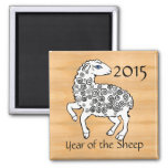 Year of the Yin Wood Sheep 2015 2 Inch Square Magnet
