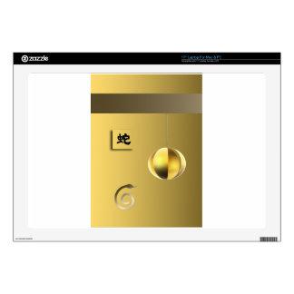 """Year of theSnake lantern yellow gold 17"""" Laptop Skin"""