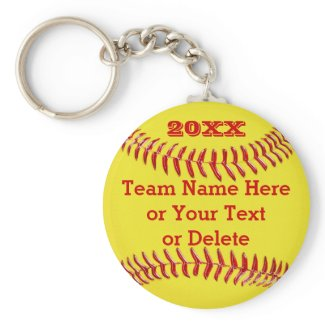 YEAR, Team Name, Text BULK Softball Gifts Basic Round Button Keychain