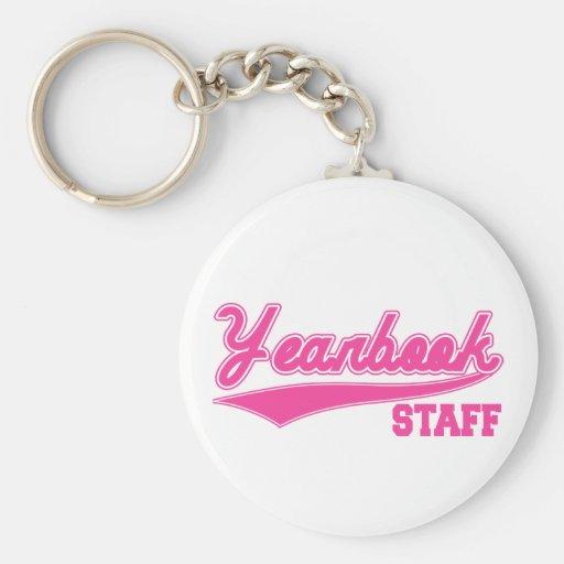 Yearbook Staff (Baseball Script Pink) Basic Round Button Keychain