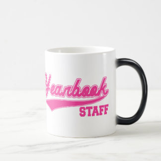 Yearbook Staff (Baseball Script Pink) Magic Mug