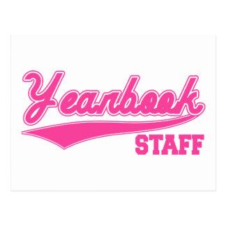 Yearbook Staff (Baseball Script Pink) Postcard