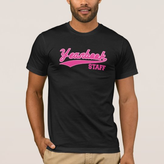 Yearbook Staff (Baseball Script Pink) T-Shirt