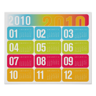 Yearly 2010 Calendar Poster