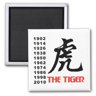Years of The Chinese Zodiac Tiger Gift 2 Inch Square Magnet