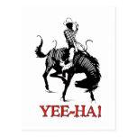 Yee-Ha! Rodeo cowboy on bucking horse stallion Postcard