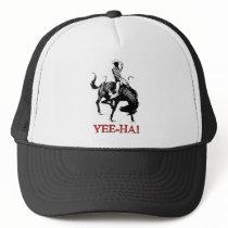 Yee-Ha! Rodeo cowboy on bucking horse stallion Trucker Hat