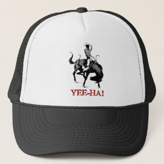 Yee-Ha! Rodeo cowboy on bucking horse stallion Trucker Hat