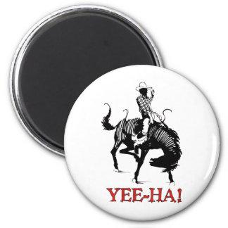 ¡Yee-Ha! Vaquero del rodeo en el semental bucking  Imán Redondo 5 Cm