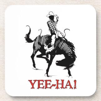 ¡Yee-Ha! Vaquero del rodeo en el semental bucking Posavasos