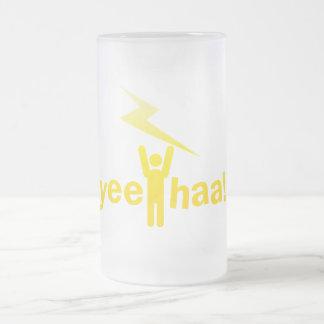 yee haa ! lightning man frosted glass beer mug