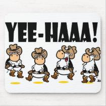 Yee-HAAA! Linedancing cows Mouse Pad