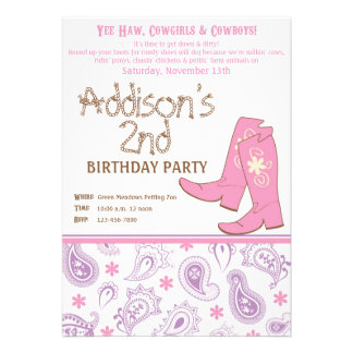 Yee Haw Birthday Party Personalized Announcement