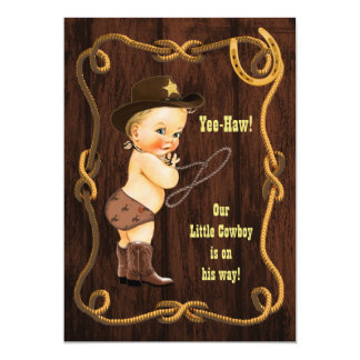 Yee-Haw! Blonde Cowboy Rustic Baby Shower Card