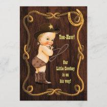 Yee-Haw! Blonde Cowboy Rustic Baby Shower Invitation