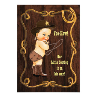 Yee-Haw! Brunette Cowboy Rustic Baby Shower Card