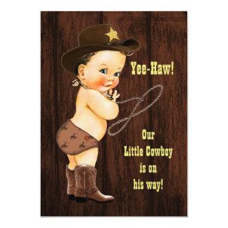 Yee-Haw! Brunette Cowboy Rustic Baby Shower Card