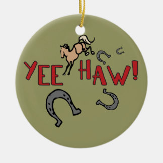 Yee Haw Bucking Horse Ceramic Ornament