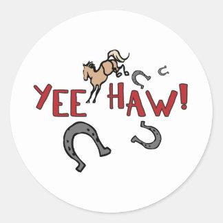 Yee Haw Bucking Horse Round Stickers