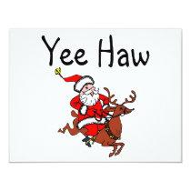 Yee Haw Christmas Cowboy Santa Claus Card