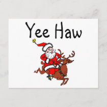 Yee Haw Christmas Cowboy Santa Claus Holiday Card