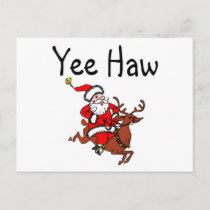 Yee Haw Christmas Cowboy Santa Claus Holiday Postcard