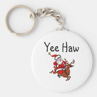 Yee Haw Cowboy Santa Claus Basic Round Button Keychain