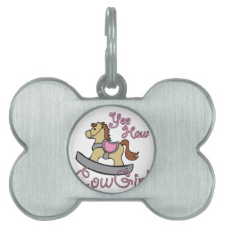 Yee Haw Cowgirl Pet Name Tags