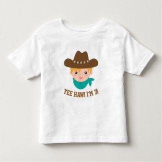 Yee Haw, Cute Little Cowboy is 3 Toddler T-shirt