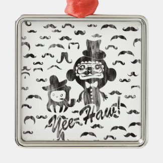 Yee- Haw Goofy Characters with mustaches art. Metal Ornament