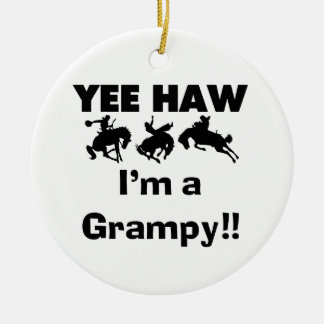 Yee Haw I'm a Grampy T-shirts and Gifts Double-Sided Ceramic Round Christmas Ornament
