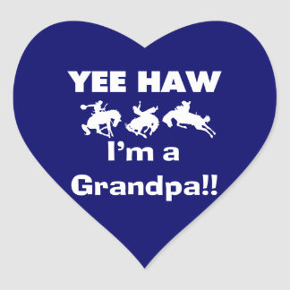 Yee Haw I'm a Grandpa T-shirts and Gifts Heart Sticker