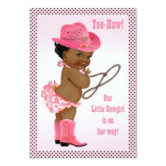 Yee-Haw! Little Ethnic Cowgirl Baby Shower Card