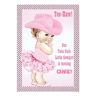 Yee-Haw! Tutu Cute Little Cowgirl Baby Birthday Card
