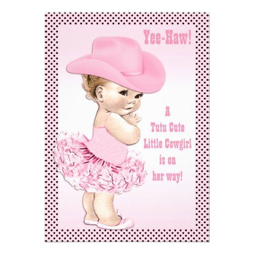 Tutu Cute Little Cowgirl Baby Shower Announcement