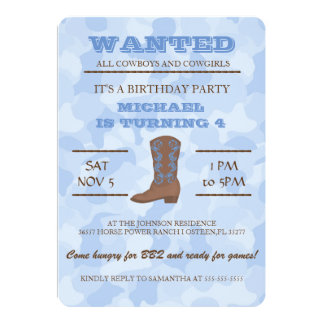 YEEHAW! Blue Cowboy Birthday Party Invitation