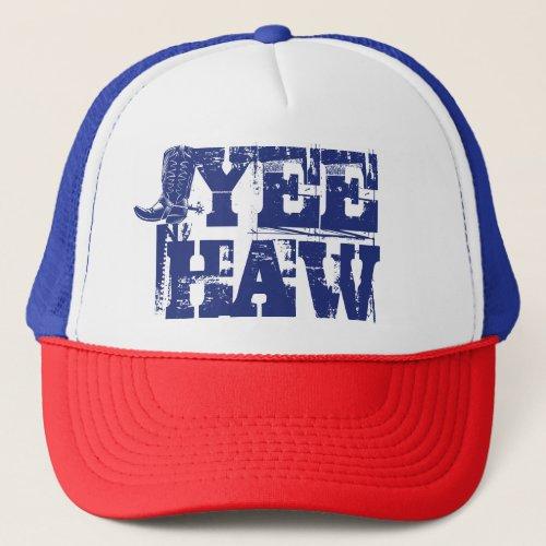 Yeehaw Blue Patriotic Cowboy Boot Trucker Hat