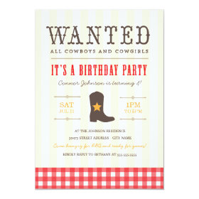 Yeehaw! Cowboy Birthday Party Invitation 5