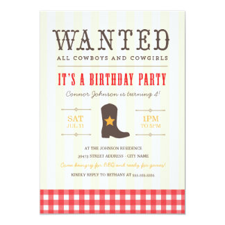 Yeehaw! Cowboy Birthday Party Invitation