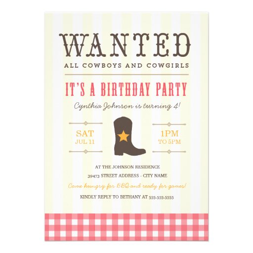 Cowgirl Birthday Party Invitations as awesome invitations template