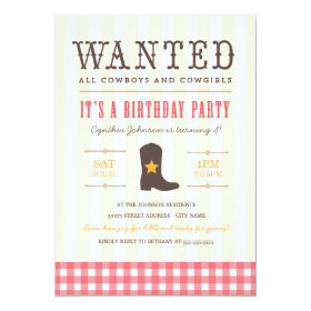 Yeehaw! Cowgirl Birthday Party Invitation 5