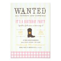 Yeehaw! Cowgirl Birthday Party Invitation